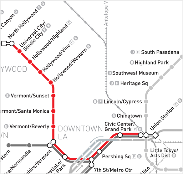 Red Line Los Angeles Subway Map.Powerpoint Presentation
